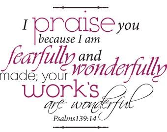 Psalms 139:14 | Bible Verse Wall Sticker
