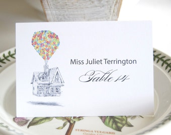 Disney Inspired UP Wedding, Disney Place Cards Personalized with Guests Names (Sold in sets of 25 Cards)