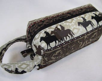 Rodeo Cowboy Fabric and Embroidery - Surprise Embroidery Inside Cosmetic Bag Makeup Bag LARGE