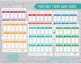 Printable Birthday Party Theme Taboo Game 54 Cards   PDF File, Instant Download, DIY, Print at Home or Printer, NOT Editable