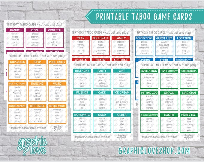 Featured listing image: Printable Birthday Party Game, 54 Taboo Cards | Kids Game, Sleepover, Surprise | PDF File, Instant Download, Ready to Print, NOT Editable