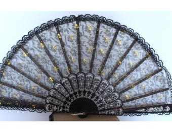Black and Gold Floral Spanish Lace Fan