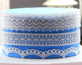 L001 Large silicone sugar lace mat, flower lace edge decorting wedding cake, lace mold fondant for creating edible lace, baking tool