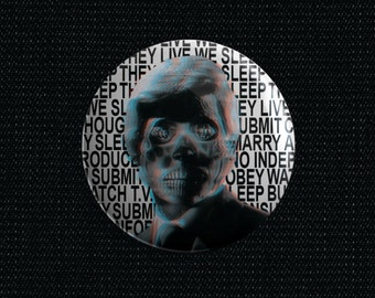 """They Live """"Alien"""" 1 1/2 inch pin back button"""