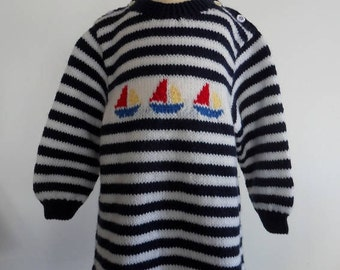 Sailor dress with small boats
