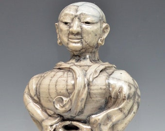 Large Buddha Statue Seated in the Clouds Raku Ceramics Sculpture