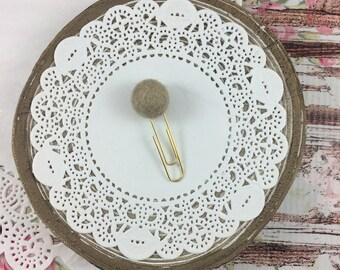 Taupe 1.5 cm Pom Clip // Planner Clip // Bookmark // Pom Pom // Merino Wool