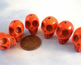 Skull Beads Orange Howlite Stone Craft, Jewelry Supplies Day of the Dead
