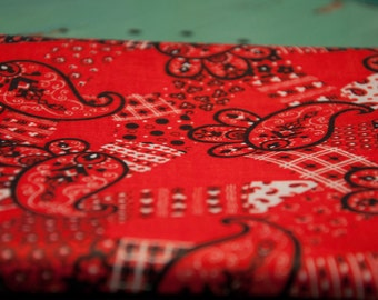 Bold Paisley Bandana Print - New Old Stock  Vintage Fabric Mod Juvenile Cowboy Cowgirl 60s 50s 36 in wide