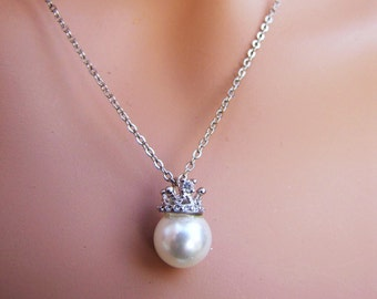 Silver Silver chain necklace with crown pearl pendant,  bridal pearl necklace, white south sea shell pearl chain necklace