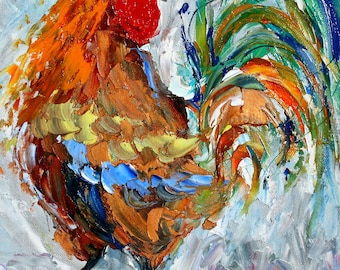 Fine art Print Rooster Dance - made from image of oil painting by Karen Tarlton - impressionistic modern whimsical palette knife