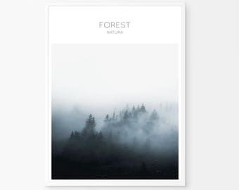 Dark Blue poster, Forest Art, Minimalist Print, Forest Print, Dark Blue Digital, Forest Wall Print, Forest Art Decor, Minimalist Decor,