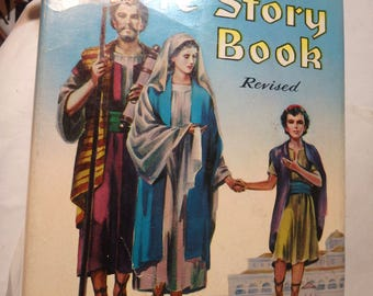 1955 Egermeirer's Bible Story Book- revised with worn DJ.