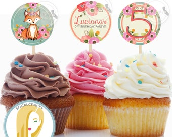 Fox Cupcake Toppers, Fox Birthday Party Cupcake Toppers, Woodland Cupcake Toppers, Woodland Animals Topper, DIY Printable Party Supplies