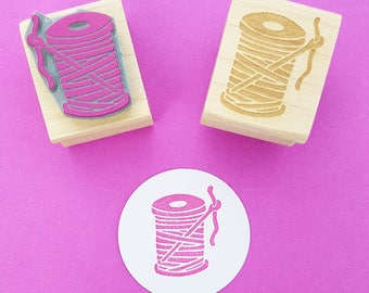 Needle and Thread Rubber Stamp - Craft Stamper - Scrapbooking - Sewing Stamp - Haberdashery Stamp - Craft Supplies - Bobbin - Sewing Gift