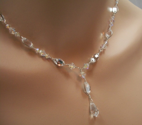 Bridal Jewelry Set Swarovski Crystal Rhinestone Pear Y Drop