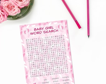 It's a Girl Baby Word Search, Girl Baby Shower Game, New Mom to Little Miss Baby Shower Game, Baby Shower Favor Gift - 20 Cards