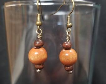 Wooden bead earrings, beaded earrings, handmade jewelry, handmade earrings, Brown earrings, dangle earrings, cute earrings, wooden earrings