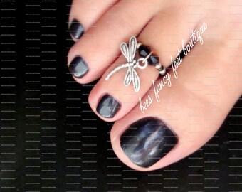 Dragonfly Toe Ring, Dragonfly Ring, Dragonfly Charm Bead, Black Crystal Bicones, Black Beads, Toe Ring, Ring, Stretch Bead Toe Ring