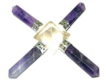On Hot Sale !!! Crystal Pyramid Amethyst 4 Point Energy Generator
