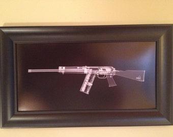 SAIGA 12  CAT scan gun print - ready to frame