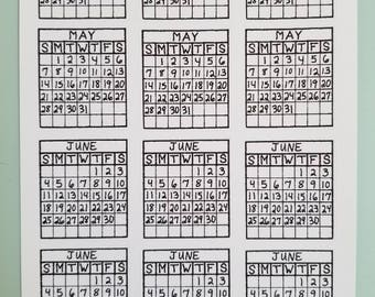 12 Mini Monthly Calendar Stickers, Bullet Journal Sticker, Planner Sticker, Planner Accessories, Bullet Journal Accessories, Colorable, Bujo