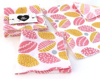 Set of 5 handkerchiefs cotton - Scandinavian spring - 5 printed soft tissue - tissue zero waste - washable handkerchief