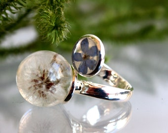 Ring of dandelions and forget-me. Ring dandelion sphere  Real dandelion ring. Ring dandelion. Ring epoxy resin.