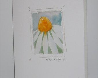 handmade card, original daisy watercolor painting on notecard