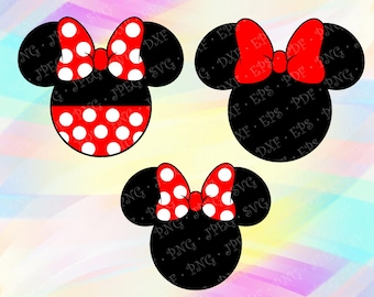 SVG PNG Minnie Mouse Head Ears Red Bow Disney Layered Cut Vector Files Cricut Designs Silhouette Studio Cameo Vinyl Decal Tshirt Iron on