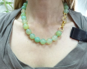 Nephrite Necklace, Green Nephrite beads, 24K gold plated Clasp, Gift for her