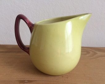 SALE!-Vintage Hull Pottery Pitcher,  Lime With Brown Handle