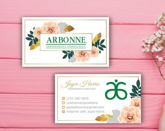 Arbonne Business Cards, Custom Arbonne Business Card, Floral Flower Arbonne Business Card, Custom Business Card, Printable Card AB12