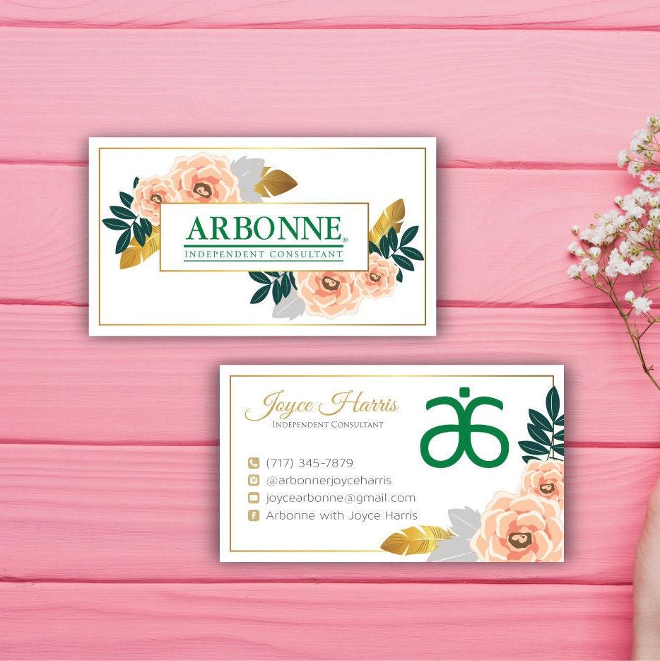 Arbonne Business Cards Custom Arbonne Business Card Floral