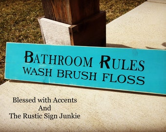 Bathroom rules sign, bathroom rules signs, bathroom rules, bathroom sign, bathroom signs, wood bathroom signs, bathroom decor, Rustic Sign