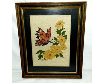 Vintage Buttefly Framed Needlepoint,Butterfly and Flower Needlework,Matted and Framed Needlework,Framed Embroidery,Monarch Butterfly,Flowers