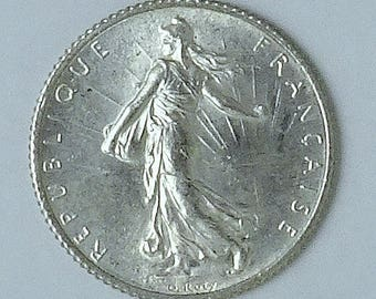 FRENCH One Franc Silver Coin, 1920, BU