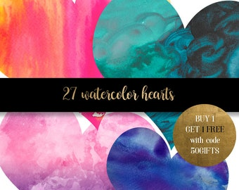 Watercolor hearts clipart, dark watercolor heart clipart, watercolor clip art, watercolour graphics, heart graphics, scrapbook clipart
