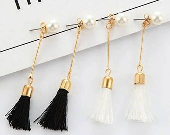 Tassel and Pearl earrings, black amd white tassel earrings, pearl earrings, hand made jewelry, boho jewelry, nimalistic earrings, earring