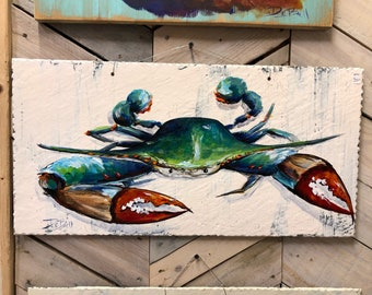 BLUE CRAB- Original hand painted blue crab on Salvaged Roof Slate **Reclaimed Architectural Salvage from New Orleans