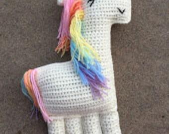 Crochet Unicorn ragdoll, cuddler, stuffed animal