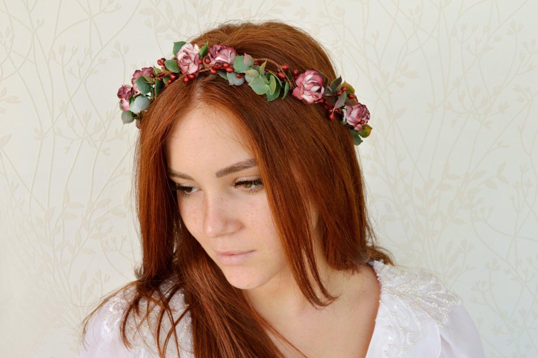 Bridal flower crown marsala wedding hair wreath rustic zoom izmirmasajfo