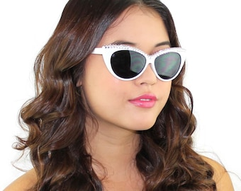 White Crystal Sunglasses / Embellished Cat Eye Sunglasses / Swarovski crystal sunglasses / Kristin Perry