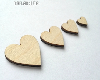 Simple laser cut HEART wood shapes / Laser cut wood / Valentines day decor / Romantic decor / Wood shapes / Wood laser cut / Unfinished wood