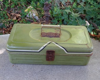 """Vintage Green Metal Tool Box, Industrial Decor with Pin Striping, 13"""" Toolbox with Rustic Patina,  Handyman Tool Carrier, Metal Storage Box"""