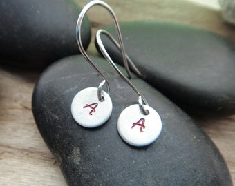 Atheist Scarlet Letter Earrings, Red A Atheist Godless Earrings Jewelry, Stamped Aluminum Jewelry