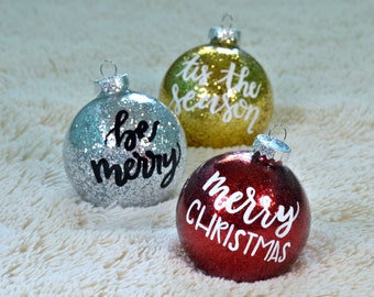 PERSONALIZED GLASS ORNAMENTS!! Christmas gift, Christmas decor