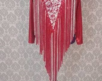 Red and Silver Fringe Leotard Drag Queen Dance Costume