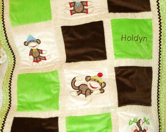 "Personalized Baby Blanket Appliqued, Minky ""Sooo Lovable Sock Monkey in Green"""