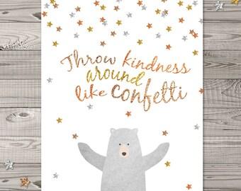 Bear Nursery Wall Art, Woodland Nursery Art, Faux Glitter Nursery Art, Confetti Nursery Wall Art, Bear nursery art, Throw Confetti around